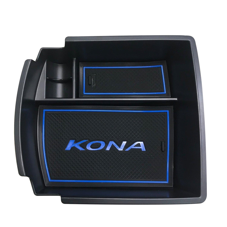 RUIYA Central Console Armlehne Box Angepasst für 2018 Hyundai Kona, Aufbewahrungsbox Console Organizer Insert Tray, Autozubehör (Grün) Autozubehör (Grün)