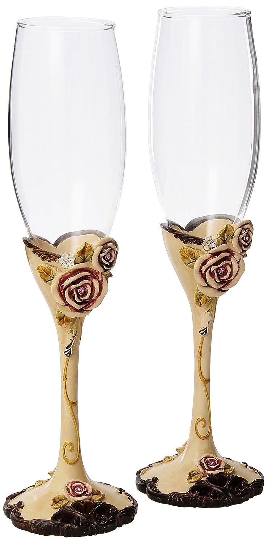 Amazon.com | Elegant Vintage Rose Wedding Toasting Flutes: Champagne ...