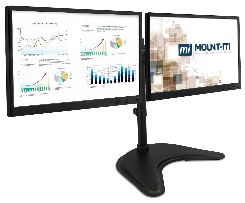 Beau Amazon.com : Dual Monitor Freestanding Desk Stand   For Two VESA Compatible  20, 23, 24, 27 Inch Screen Sizes, 44Lb Capacity, Black (MI 1781) : Office  ...