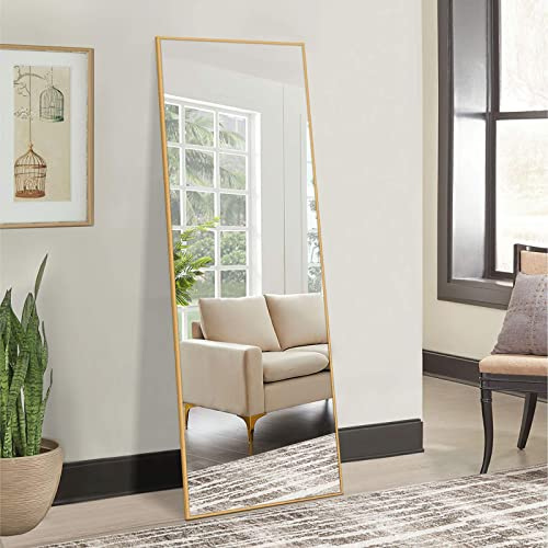 NeuType Full Length Mirror Dressing Mirror 65″x22″ Large Rectangle Bedroom Floor Standing Mirror Wall-Mounted Mirror Standing Hanging or Leaning Against Wall Aluminum Alloy Thin Frame 65″x22″