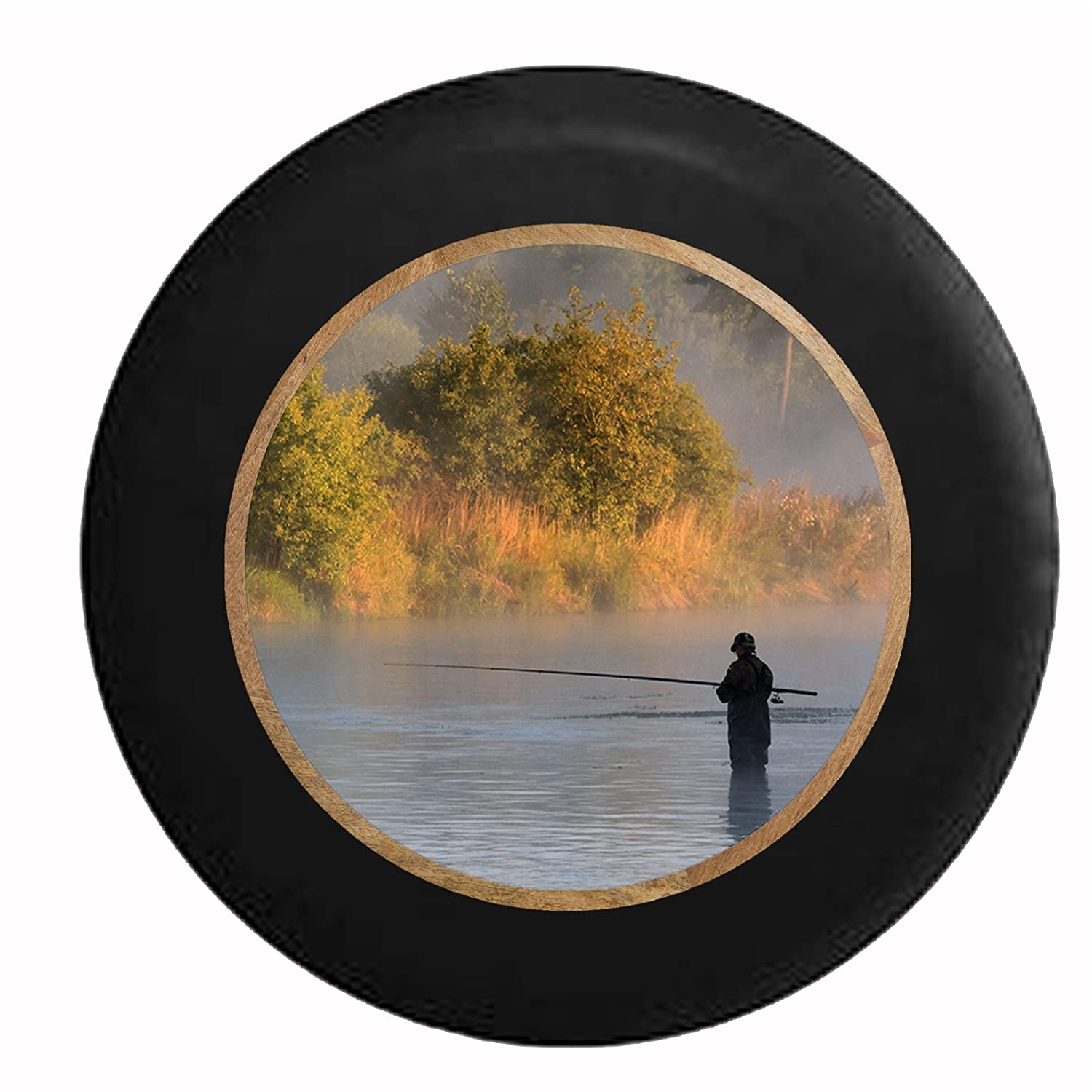 Just Another Beer Drinker with a Camping Problem Campfire Camping RV Spare Tire Cover OEM Vinyl Black 27.5 in Tan