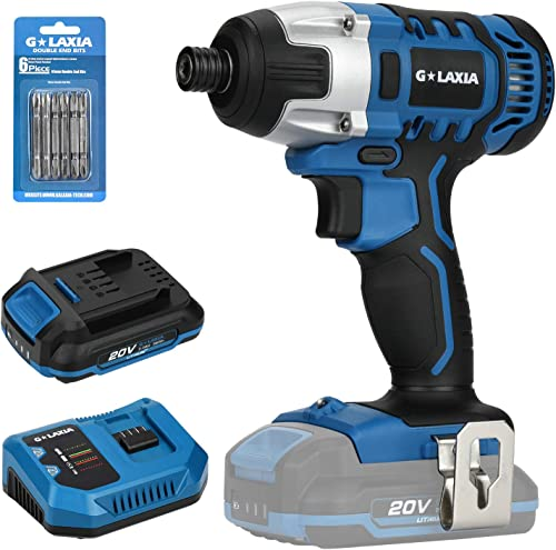 GALAXIA 20V Lithium Ion 1 4 Inch Hex Cordless Impact Driver with 150 N.m Max Torque, 3300 Max BPM, 0-2600 RPM, 6pcs Screwdriver Bit, LED Light, 2.0A Battery with Charger