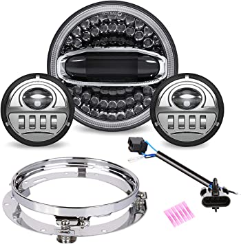 """4.5/'/' Passing Lights Halo for Harley Touring Softail 7/"""" LED Halo Headlight DRL"""