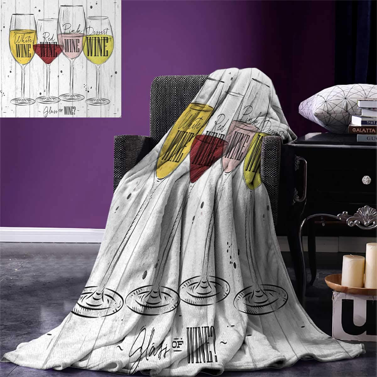 Wine Throw Blanket Four Main Types of Wine with Their Names Glasses Vintage Rustic Wood Backdrop Drawing Warm Microfiber All Season Blanket for Bed or Couch 50''x30'' Multicolor