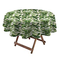 Round Tablecloths Exotic Tropic with Palm Leaves Breadfruits Plumeria Flowers and...