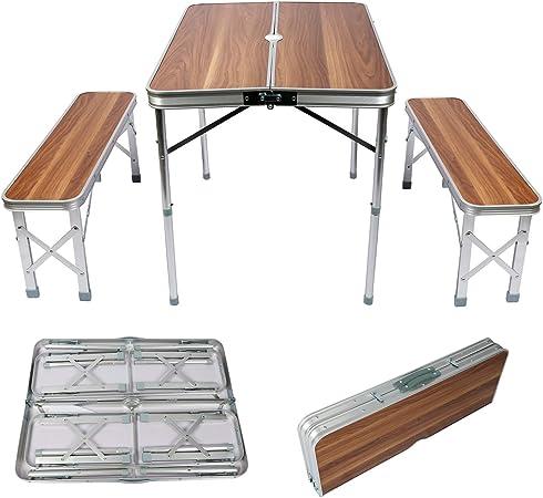 WilTec Mesa Maleta Camping Picknick con 2 Bancos 90x66x70cm Plegable Aluminio Efecto Madera Portátil Jardín