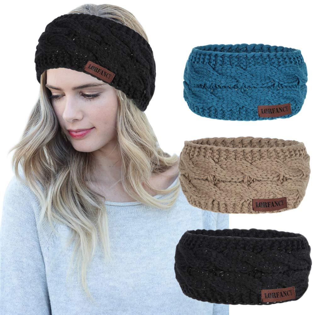 Women Headbands 3 Pcs Knit...