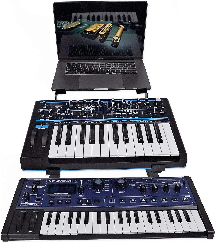 Rockville Dual Shelf Laptop+Controller Stand for Akai MPK Mini mkII Keyboard