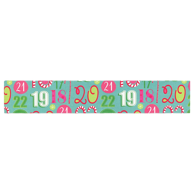 Kess InHouse Heidi Jennnings Merry Countdown Green Pink Table Runner