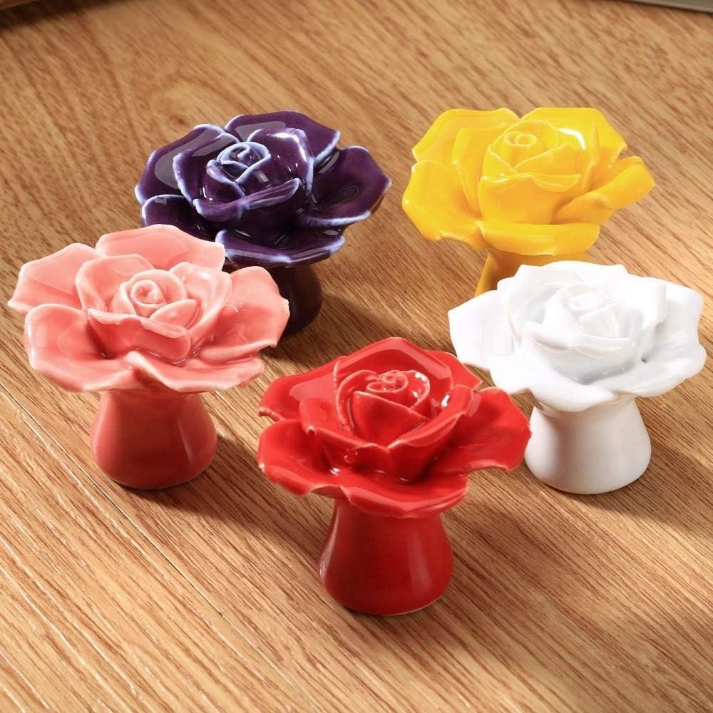 BOJI 1Pc Flower Rose Ceramic Drawer Knobs Rural Cabinets Knobs And Handles Kitchen Cupboard Handles Kids Bedroom Handles Home Decor Color : Pink