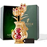 Mothers Day Gift – Crystal Studded Flowers in a Vase Ornament, Beautifully Crafted with 24K Gold, Red Crystals & a Decorative Butterfly - Mothers Gifts - Great Gift Idea for Mom by Matashi
