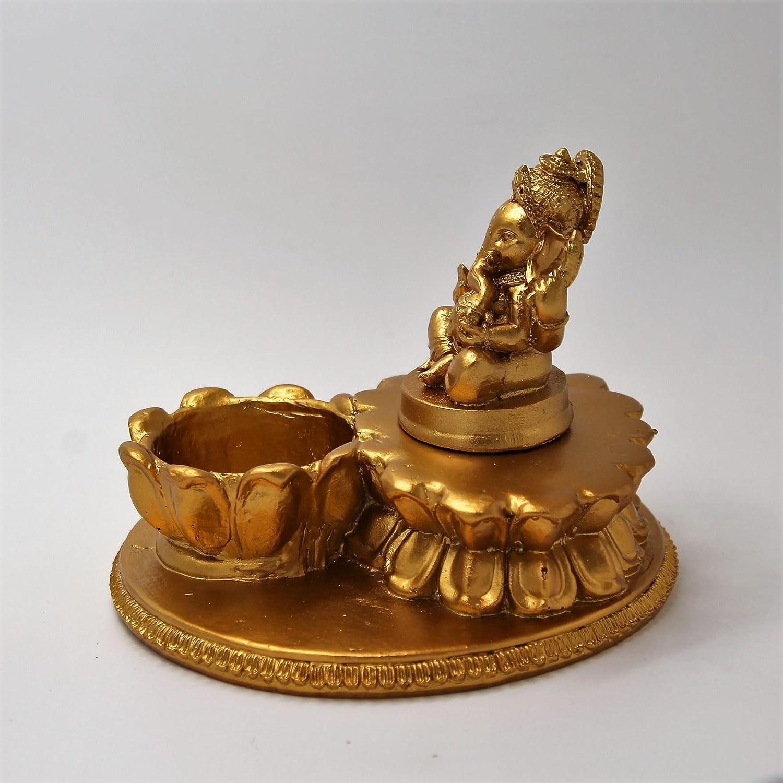 Golden Shri Venilals Hindu God Ganesh With Diya Statue Idol For Home Temple