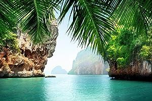 Phuket Thailand Tropical Sea Rock Island Formations Green Water Palm Trees Nature Landscape Photo Cubicle Locker Mini Art Poster 12x8