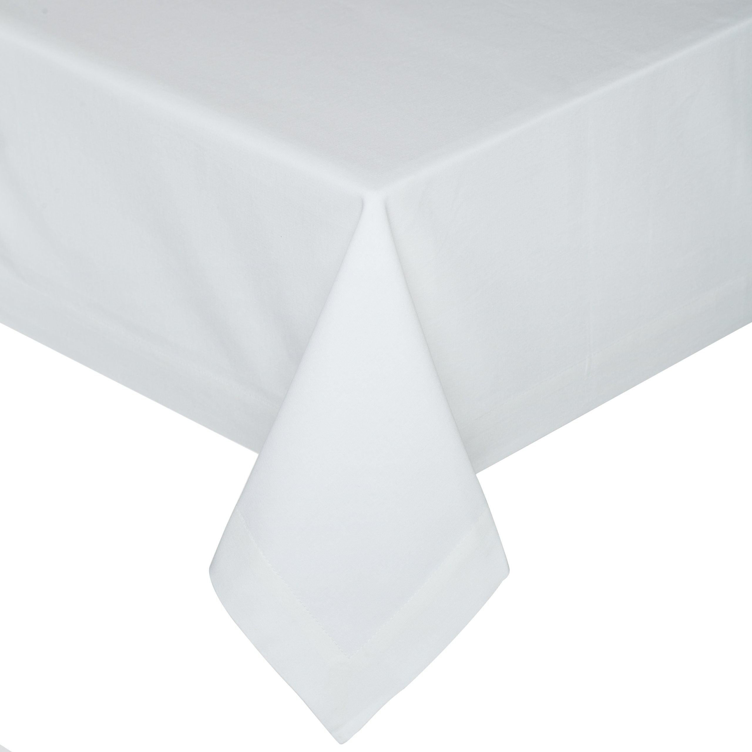 KAF Home Buffet Tablecloth in White, 70'' by 126'', 100% Cotton, Machine Washable