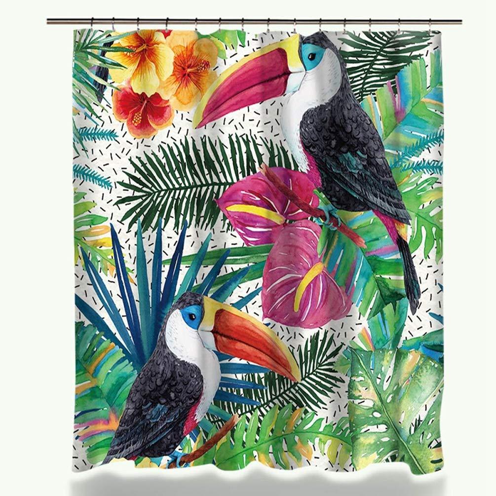 Feidaeu Rideau de Douche Accessoires de Salle de Bain D/écor /à la Maison Fleurs Et Oiseaux Mod/èle Tissu Imperm/éable en Polyester Tissu /Écologique Rideaux De Bain