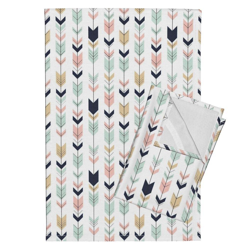 Roostery Briar Woods Tea Towels Arrows Arrow Fletching Southwest by Littlearrowdesign Set of 2 Linen Cotton Tea Towels