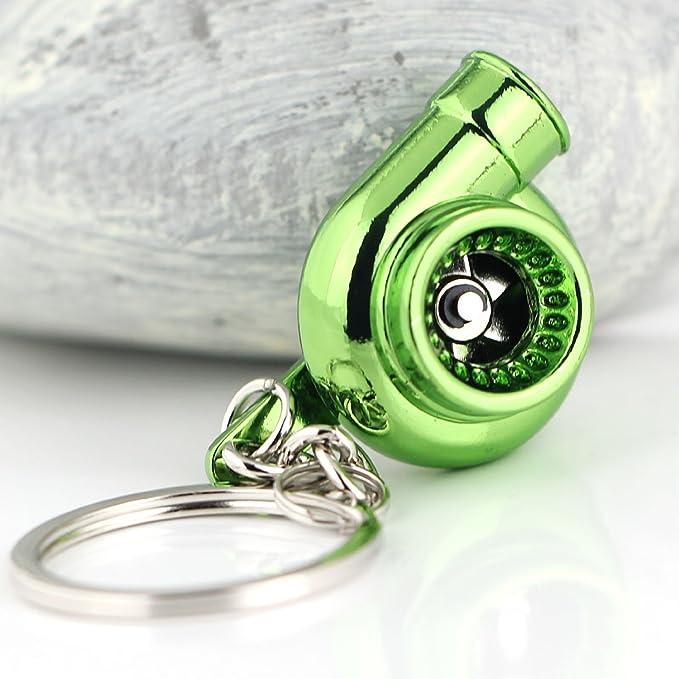Maycom Spinning Turbo Keychain Keyring Turbocharger Turbine Key Chain Ring Keyrings Polished Silver