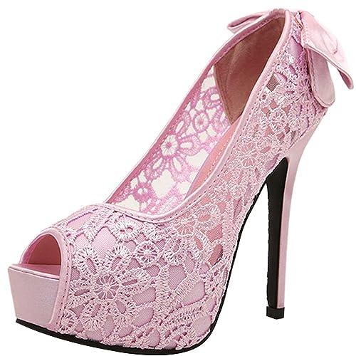 Shoes Oasap Women Lace Paneled Peep Toe Back Bow Decoration High Heel Platform Pump