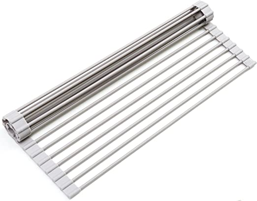 """USA 20.5/"""" XL Over The Sink Roll Up Dish Drying Rack Heavy Duty Silicone//Steel"""