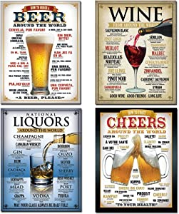 Tin Sign Bundle - How to Order a Beer, Wine From Around the World, National Liquors Around the World, Cheers Around The World