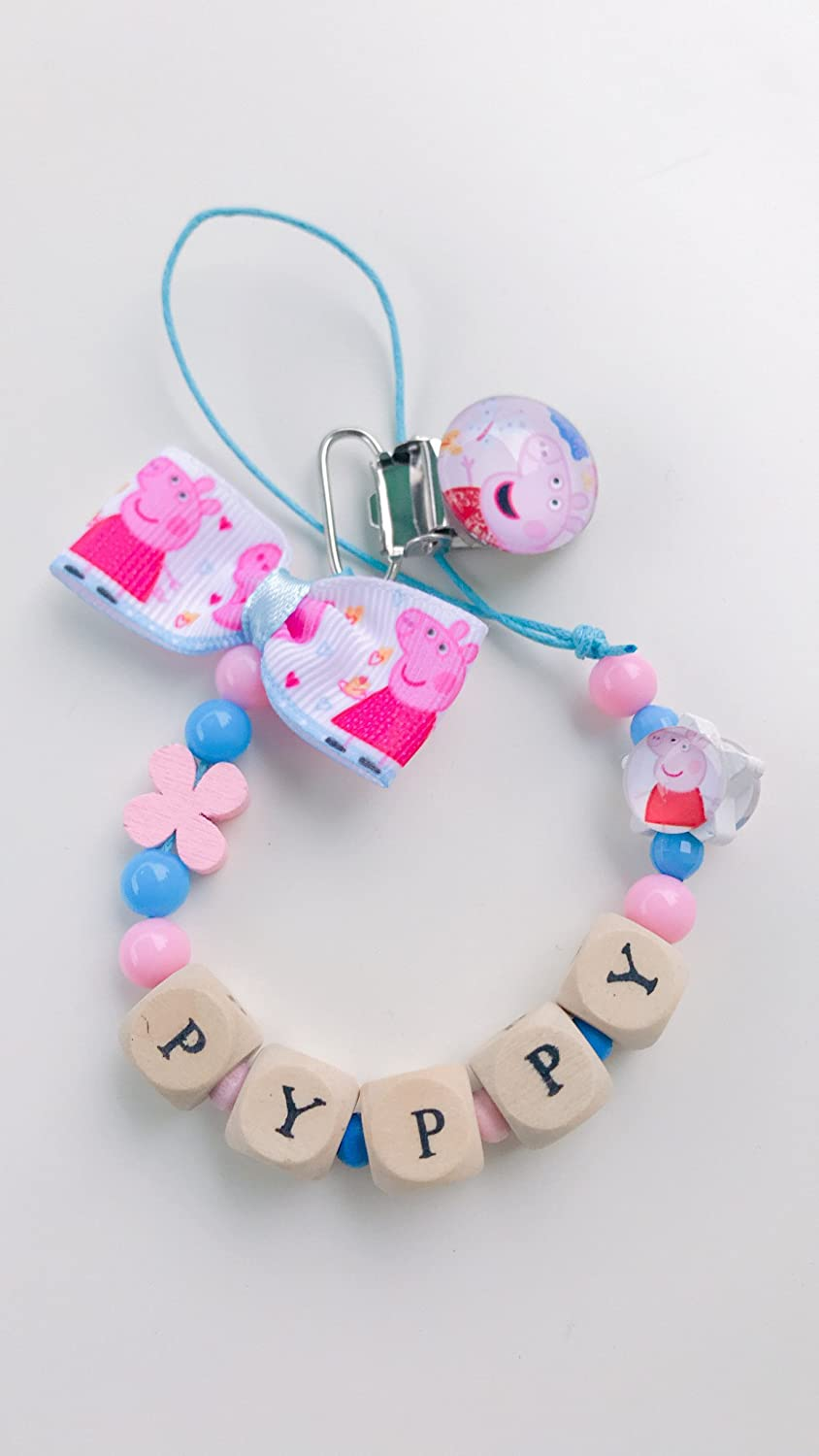 Chain holder pacifier Peppa Pig | customizable name