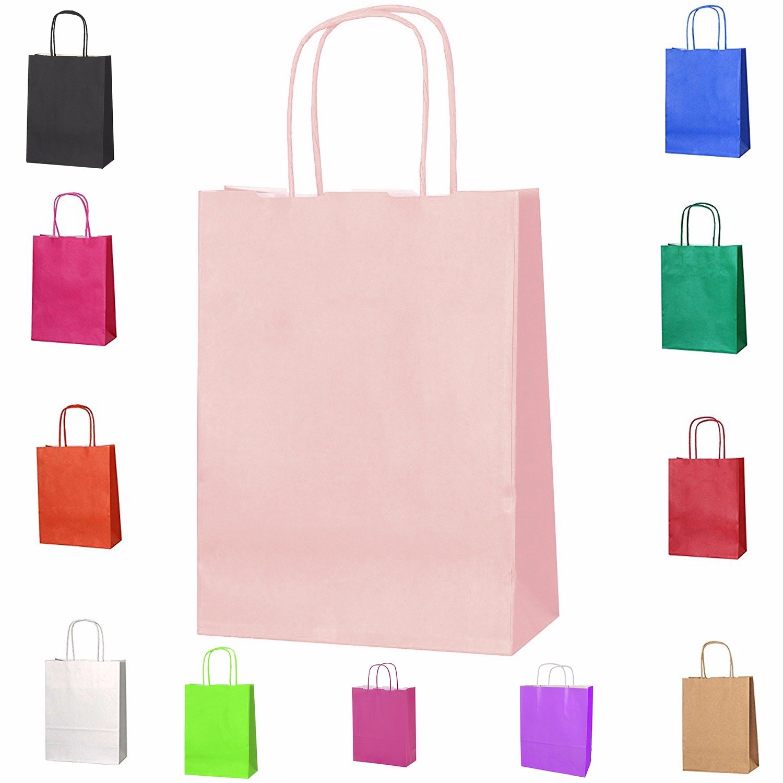 20bolsas de papel kraft con asas trenzadas e ideales para utilizar en fiestas o para hacer regalos, Cerise, XS Smith