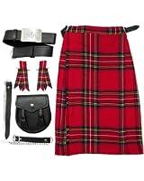 Conjunto para niños y bebés - Kilt escocés sporran cinturón y cintas - Royal Stewart - 9-10 años