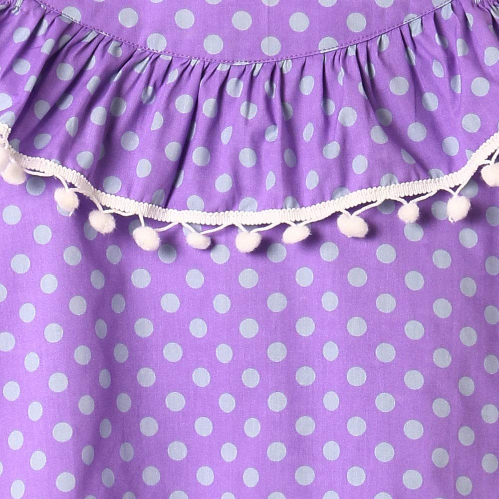 a278acef2da The KidShop Baby Girl Cotton Polka Dots Printed Cold Shoulder Casual Dress  in Purple Color  Amazon.in  Clothing   Accessories