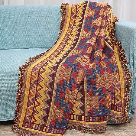 WENZHEN Manta Sofa Suave,Manta Bohemia, Mantas de algodón, Manta Tejida con Cable de algodón, Fundas de sofá súper Suaves para sofá cama-90 * 210 cm: Amazon.es: Hogar