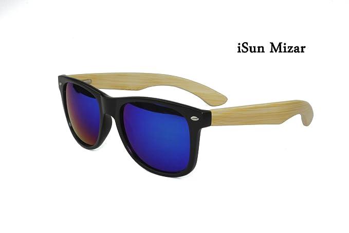 iSun Mizar,Modelo Mizar, cuerpo negro, patillas en madera de Bambú y lentes