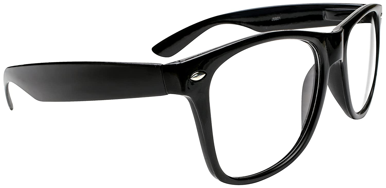 3dc50bb19035a Amazon.com  Kangaroo s Black Wayfarer Super Hero Nerd Glasses  Clothing