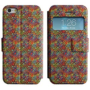 LEOCASE círculos lindos Funda Carcasa Cuero Tapa Case Para Apple iPhone 5 / 5S No.1007443
