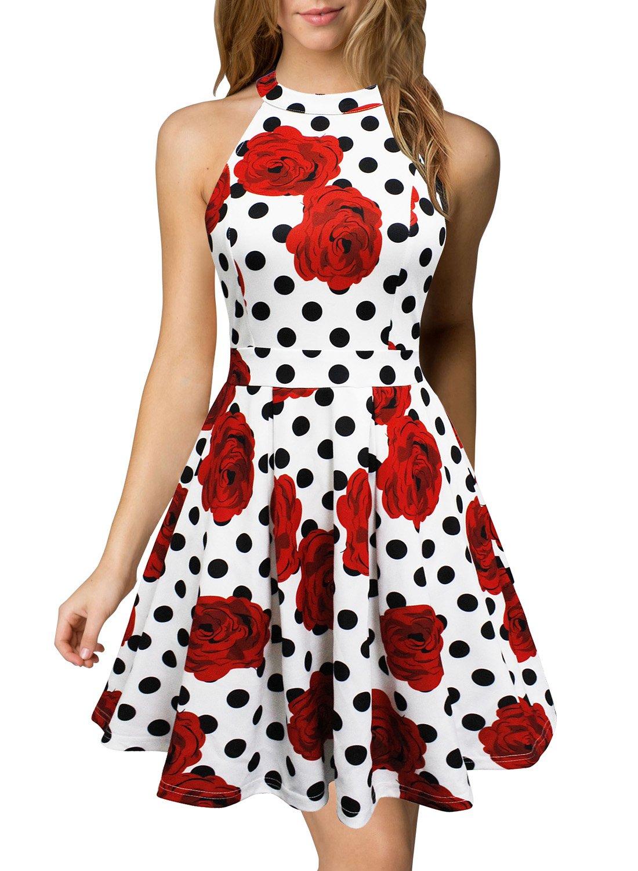 Berydress Women's Short Homecoming Dress Halter Neck Backless Short Party Skater Dress (S, 6019_White Dot)