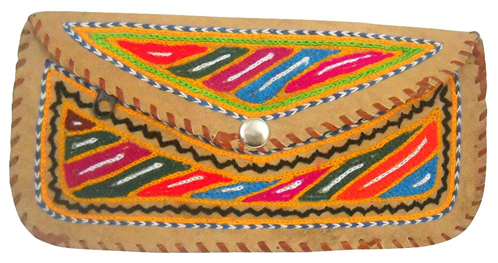 Beautiful Handmade Multi Color Embroidered 100/% Pure Camel Leather Hand Purse for Ladies