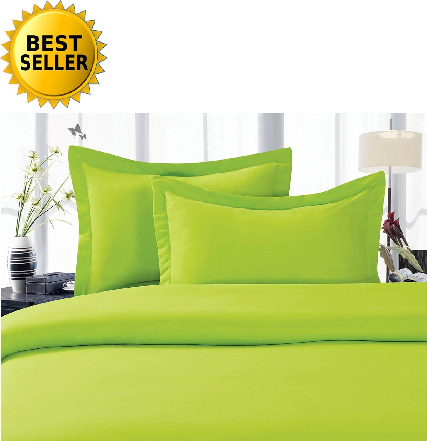 3-Piece Duvet Cover Set , Full/Queen, Lime