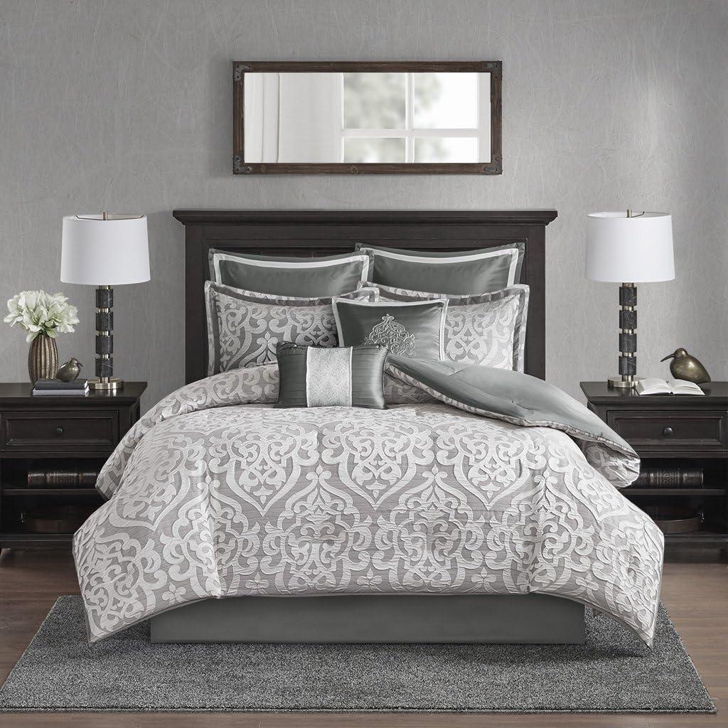 Madison Park Odette 8 Piece Jacquard Bedding Comforter Set with Damask Stria, King, Silver