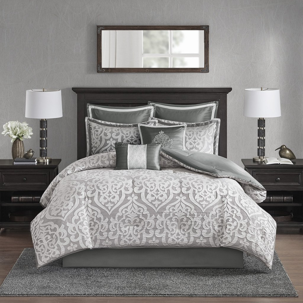 Madison Park Odette 8 Piece Jacquard Comforter Set Silver Queen