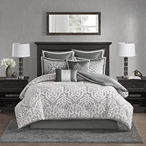 Madison Park Odette 8 Piece Jacquard Comforter Set Silver Queen