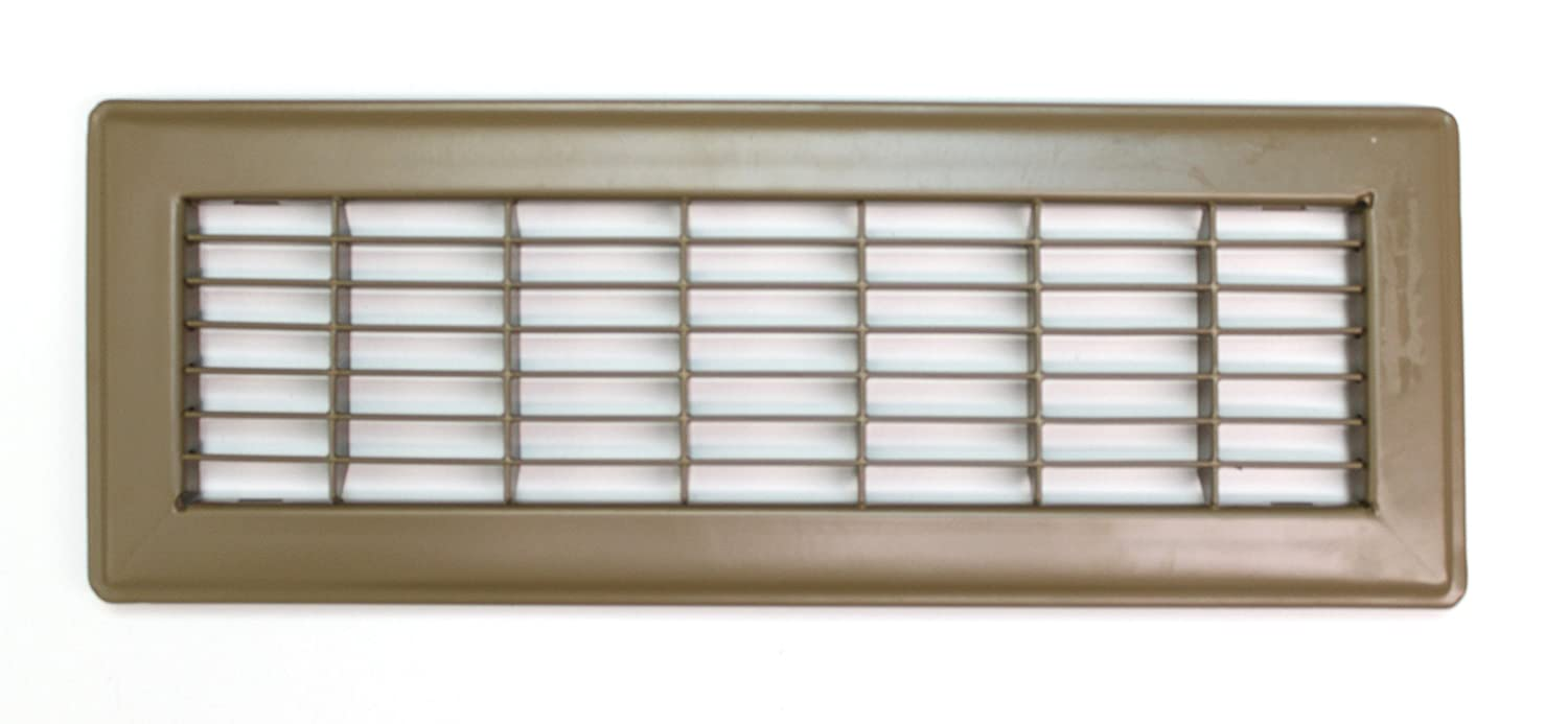 """6"""" X 12"""" Floor Grille - Fixed Blades Air Grill - Brown [Outer Dimensions: 7.75 X 13.75]"""