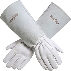 Acdyion Gardening Gloves for Women/Men Rose Pruning Thorn & Cut Proof Long Forearm Protection Gauntlet, Durable Thick Cowhide Leather Work Garden Gloves (X-Small, White)