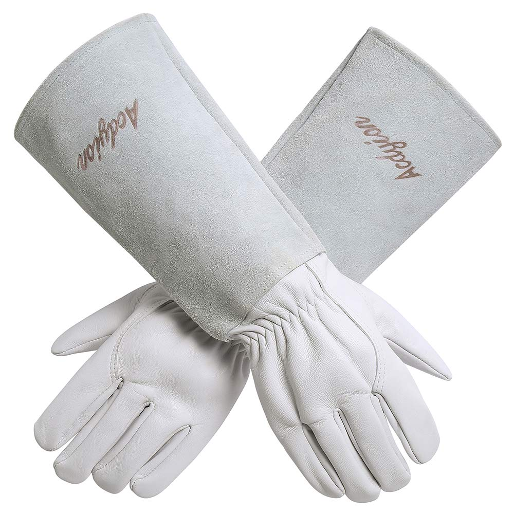 Acdyion Gardening Gloves for Women/Men Rose Pruning Thorn & Cut Proof Long Forearm Protection Gauntlet, Durable Thick Cowhide Leather Work Garden Gloves (Medium, White)