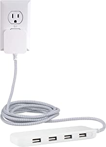 GE Ultra Pro 4 USB Power Strip, 6 Ft Long Braided Cord, Slim USB Charger, Charging Station, Wall Mount, 24W/4.8A Total Power, Compatible with Apple iPhone, iPad, Samsung Galaxy, White, 44139
