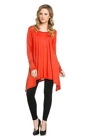 bf07e1e0b9c Frumos Womens Tunic Tops For Leggings Round Neck Top Orange X-Large at  Amazon Women's Clothing store: