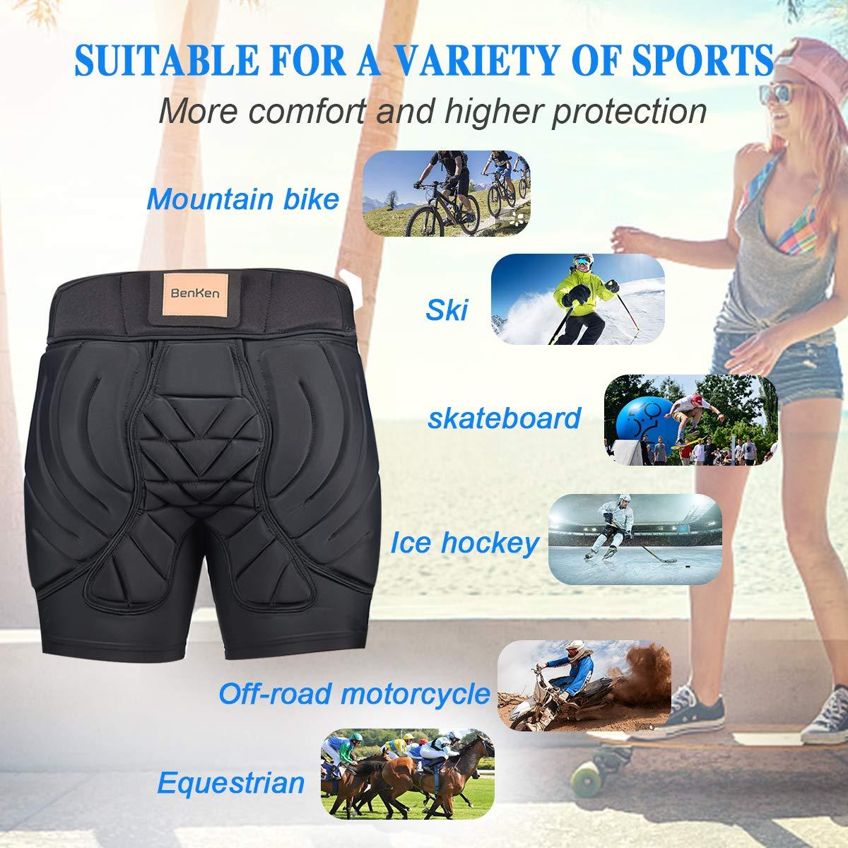 para mujer Pantalones cortos protectores acolchados para esqu/í BENKEN resistentes a los impactos protecci/ón 3D transpirables para hombre