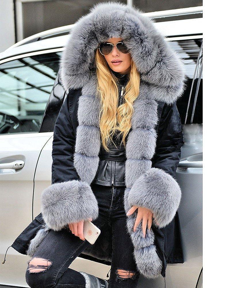 52aa7d953ed Roiii Women Casual Vintage Faux Fur Hooded Grey Warm Thick Ladies Jacket  Coat Size S-3XL at Amazon Women's Coats Shop