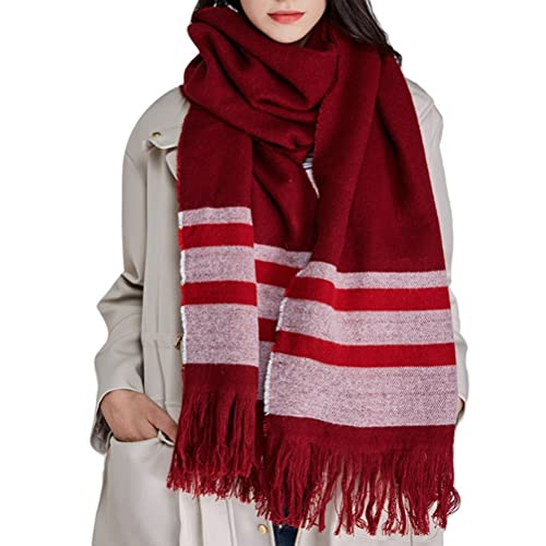 Zhhlinyuan Bufandas Mujer Classic Red Design Tassel Long Towel Winter Soft Scarfs Shawl & Wraps for Women Warm