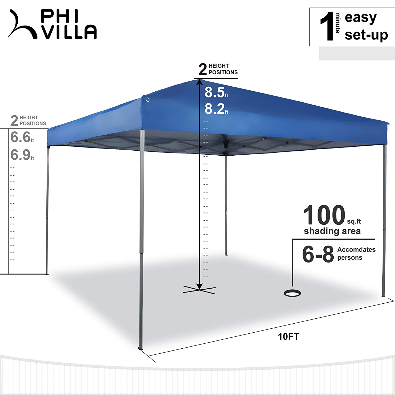 Ft of Shade Blue PHI VILLA 10ft Pop Up Canopy 100 Sq