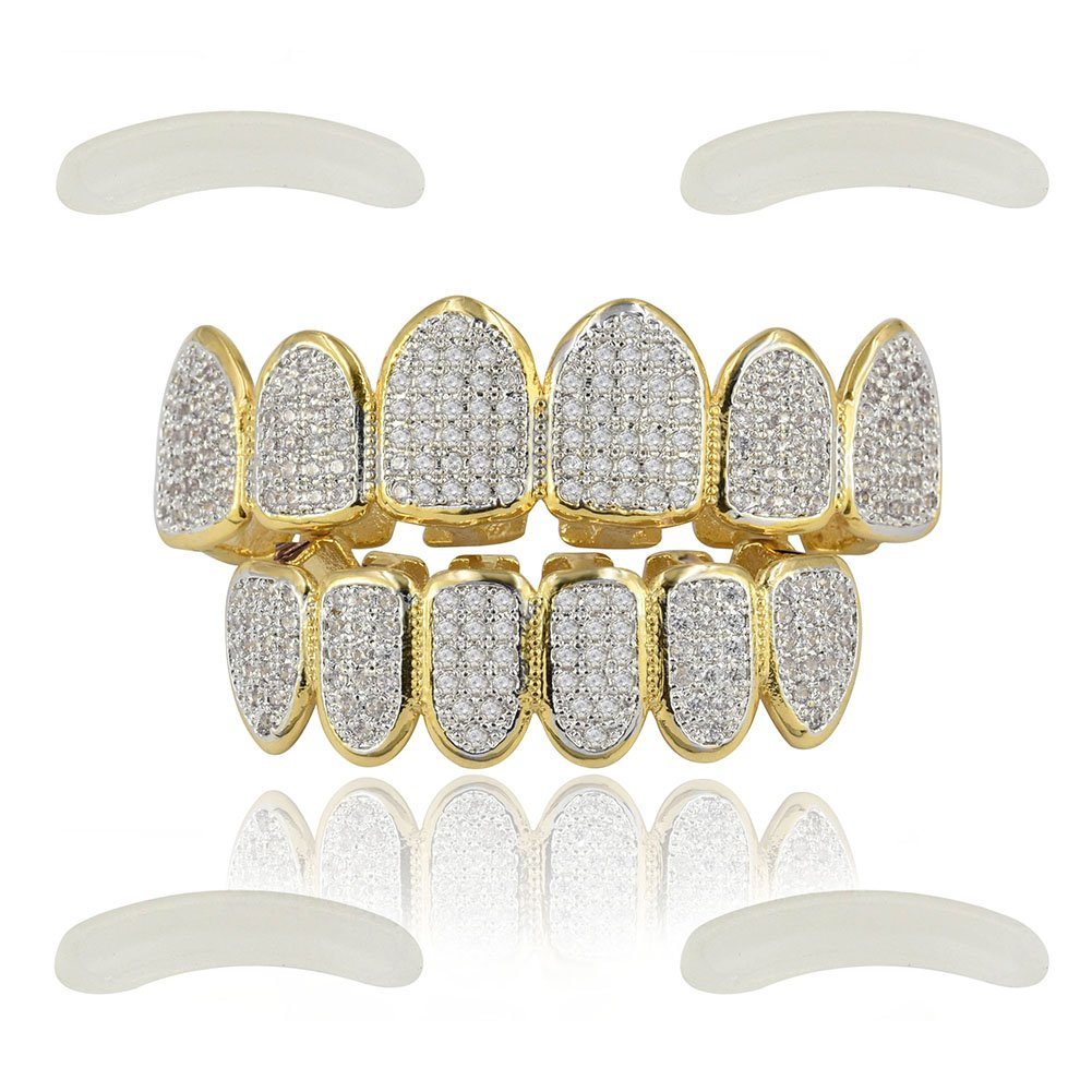 JINAO 18k Gold Plated All Iced Out Luxury Rhinestone Gold Grillz Set with Extra Molding Bars Included (Classic Set) by JINAO