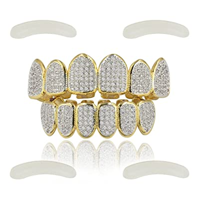 Amazon.com  JINAO 18k Gold Plated All Iced Out Luxury Rhinestone Gold Grillz  Set with Extra Molding Bars Included (Classic Set)  Jewelry cc7ca90f8
