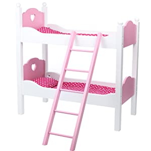 Beverly Hills Doll Bunk Bed for Twin Dolls with Ladder and Bedding, Extra Tall Wooden Furniture Accessories 2 in 1 Two Single Beds or Bunk Bed Fits 18 Inch American Girl Doll Made With Durable Wood